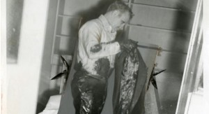 Dr.Brownlee cleaning himself up after being tarred and feathered.