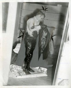 Dr.Brownlee cleaning himself up after being tarred and feathered by the KKK.