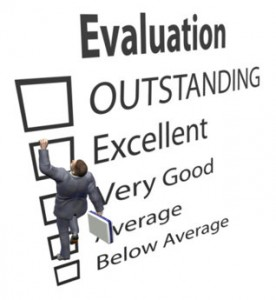 An evaluation sheet of work performance